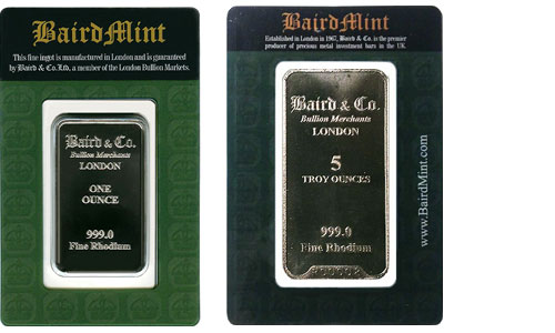Baird Mint 1 Ounce Rhodium Bar and Baird Mint 5 Ounce Rhodium Bar