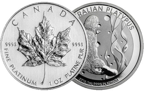 Canadian Platinum 1 Ounce 1 Ounce Maple Leaf and Australian Platinum 1 Ounce Platypus