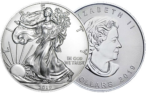 American Silver 1 Ounce Eagle and Canadian Silver 1 Ounce Maple Leaf