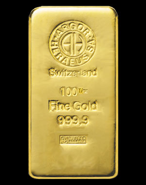 Heraeus Precious Metals Gold Bullion Bar 100 OZ Obverse