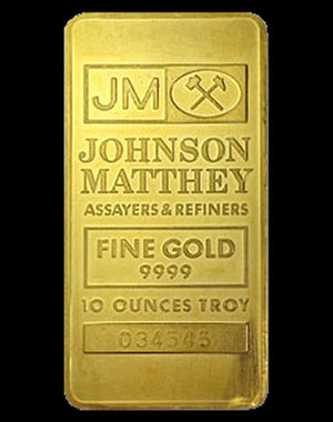 Johnson Matthey Gold Bullion Bar 10 OZ Obverse