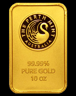 Perth Mint Kangaroo Gold Bullion Bar 10 OZ Obverse