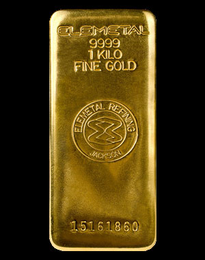 Elemetal Mint Gold Bullion Bar 1 Kilo Obverse
