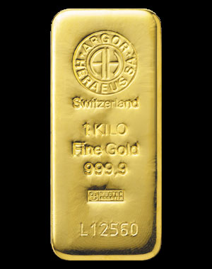Heraeus Precious Metals Gold Bullion Bar 1 Kilo Obverse
