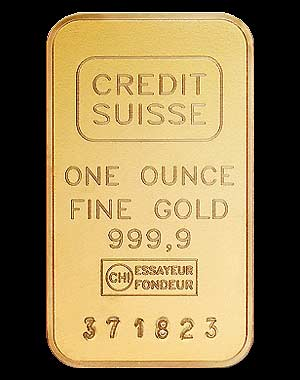 Credit Suisse Gold Bullion Bar 1 Oz