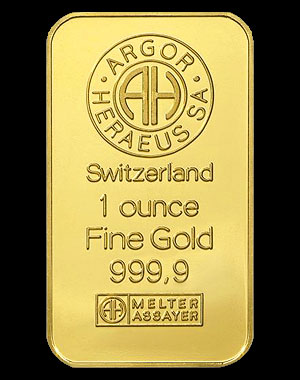 Heraeus Precious Metals Gold Bullion Bar 1 OZ Obverse