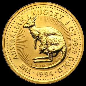Perth Mint Australian Gold Kangaroo Nugget Coin 1 OZ Reverse