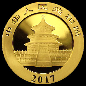 Chinese Panda Gold Coin 30 grams Obverse