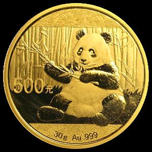Chinese Panda Gold Coin 30 grams Reverse