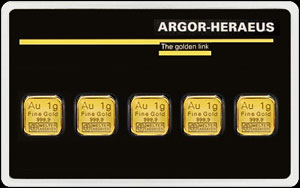 Argor - Heraeus Gold Bullion Bar 5 Gram Obverse