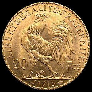 20 Franc French Gold Rooster Coin