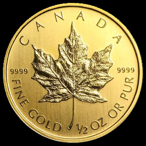 Varied Dates Canadian Gold Maple Leaf 1/2 OZ Reverse