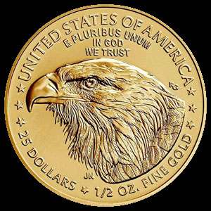 American $25 Gold Eagle 1/2 OZ Reverse