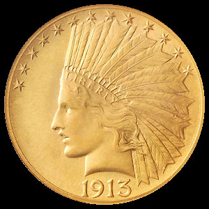 US Indian Head $10 Gold Eagle Coin Obverse