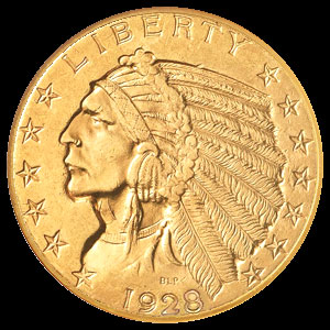 US Indian Head $2.50 Gold Quarter Eagle Coin Obverse