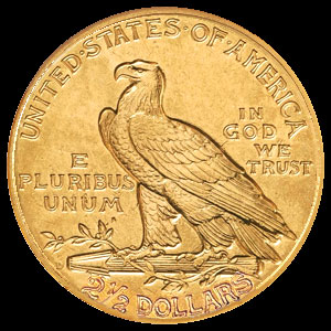 US Indian Head $2.50 Gold Quarter Eagle Coin Reverse