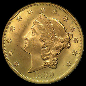 US Liberty Head $20 Gold Double Eagle Coin Obverse