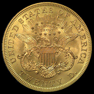 US Liberty Head $20 Gold Double Eagle Coin Reverse