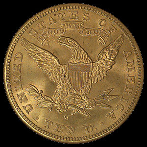 US Liberty Head $10 Gold Eagle Coin Reverse