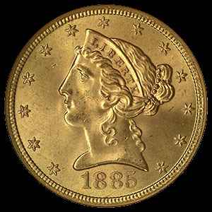 US Liberty Head $5 Gold Half Eagle Coin Obverse