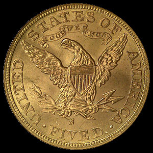 US Liberty Head $5 Gold Half Eagle Coin Reverse