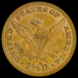 US Liberty Head $2.50 Gold Quarter Eagle Coin Reverse