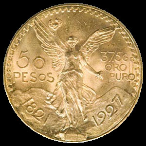 Mexican 50 Peso Gold Coin Obverse