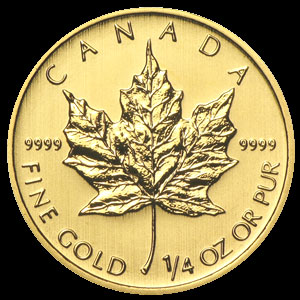 Varied Dates Canadian Gold Maple Leaf 1/4 OZ OZ Reverse