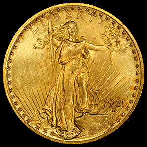 St. Gaudens $20 Gold Double Eagle Coin Obverse