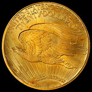 St. Gaudens $20 Gold Double Eagle Coin Reverse