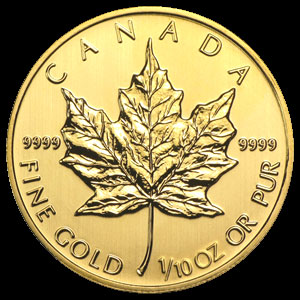 Varied Dates Canadian Gold Maple Leaf 1/10 OZ Reverse
