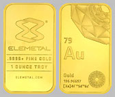Elemetal Mint Gold Bullion Bar 1 OZ