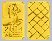 Ohio Precious Metals Year of the Horse Gold Bullion Bar 1 OZ