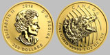 2016 Canadian Gold Roaring Grizzly Coin 1 OZ