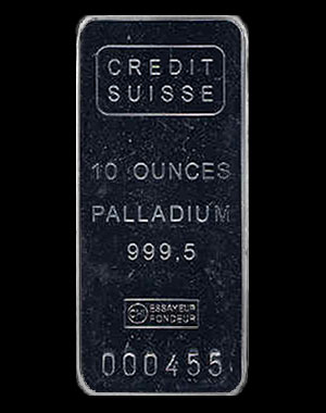 Credit Suisse Palladium Bullion Bar 10 OZ Obverse