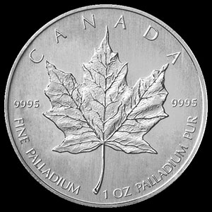 Canadian Palladium Maple Leaf 1 OZ Reverse