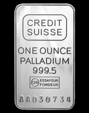 Credit Suisse Palladium Bullion Bar 1 OZ Obverse