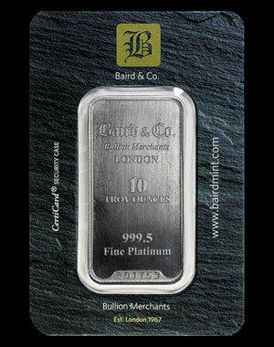 Baird & Co. Platinum Bullion Bar 10 OZ Obverse