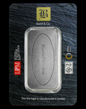 Baird & Co. Platinum Bullion Bar 10 OZ Reverse