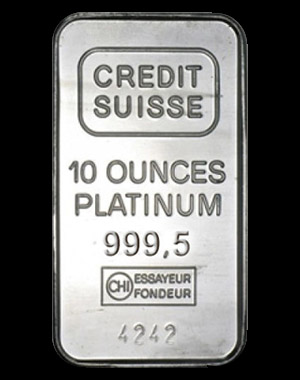 Credit Suisse Platinum Bullion Bar 10 OZ Obverse