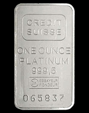Credit Suisse Platinum Bullion Bar 1 OZ Obverse