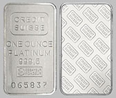 Credit Suisse Platinum Bullion Bar 1 OZ