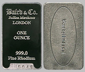 Baird & Co. Rhodium Bullion Bar 1 OZ
