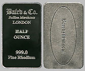 Baird & Co. Rhodium Bullion Bar 1/2 OZ