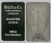 Baird & Co. Rhodium Bullion Bar 1/4 OZ