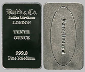 Baird & Co. Rhodium Bullion Bar 1/10 OZ