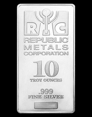 Republic Metals Silver Bullion Bar 10 OZ Obverse