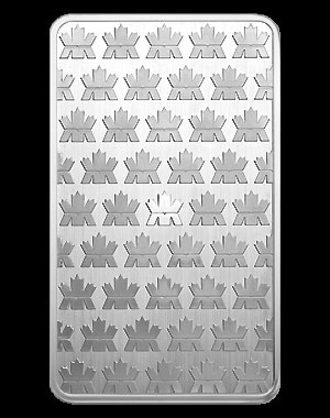 Royal Canadian Mint Silver Bullion Bar 10 OZ Reverse