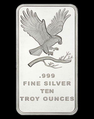 SilverTowne Silver Eagle Bullion Bar 10 OZ Obverse