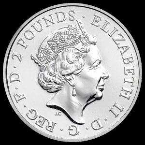 British Royal Mint Silver Year of the Rooster Coin 1 OZ Obverse